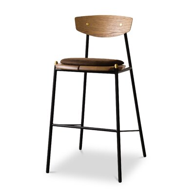 Aldo Oak Bar Stool Upholstery: Umber Tan