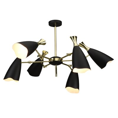 Dority 6-Light Sputnik Chandelier Shade Color: Black