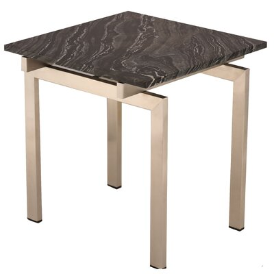 Carsten End Table Table Base Color: Silver, Table Top Color: Black