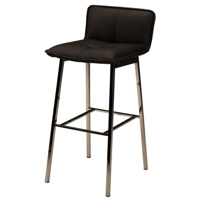 Chappelle 29.5 Bar Stool Color: Polished Silver, Upholstery: Black Naugahyde