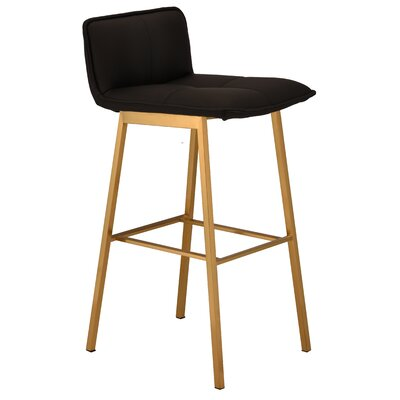Chappelle 29.5 Bar Stool Color: Brushed Gold, Upholstery: Black Naugahyde