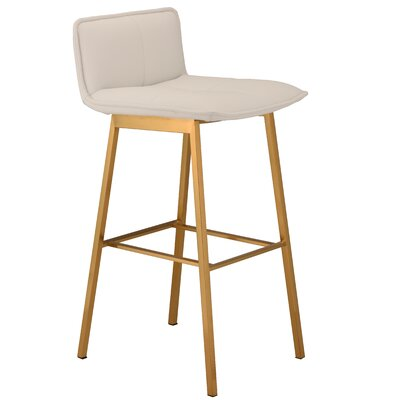 Chappelle 29.5 Bar Stool Color: Brushed Gold, Upholstery: White�Naugahyde