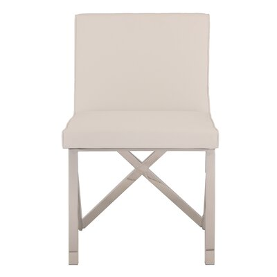 Kata Upholstered Dining Chair Upholstery Color: White, Leg Color: Polished Silver