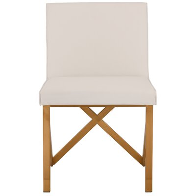 Kata Upholstered Dining Chair Upholstery Color: White, Leg Color: Brushed Gold