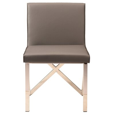 Kata Upholstered Dining Chair Leg Color: Polished Silver, Upholstery Color: Gray