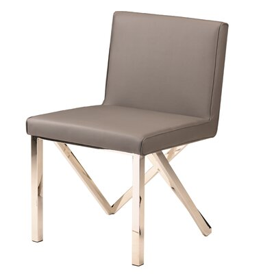 Kata Upholstered Dining Chair Upholstery Color: Gray, Leg Color: Polished Silver