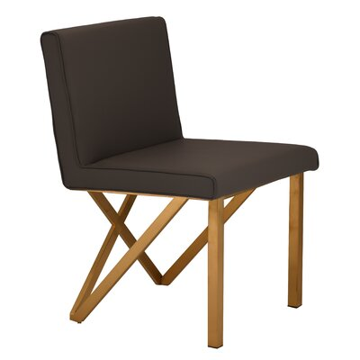 Kata Upholstered Dining Chair Upholstery Color: Black, Leg Color: Brushed Gold