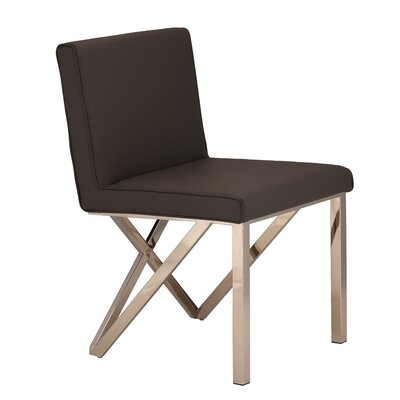 Kata Upholstered Dining Chair Upholstery Color: Black, Leg Color: Polished Silver