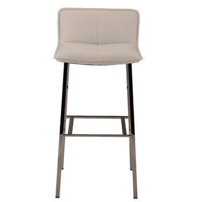 Chappelle 25.5 Bar Stool Color: Polished Silver, Upholstery: White Naugahyde