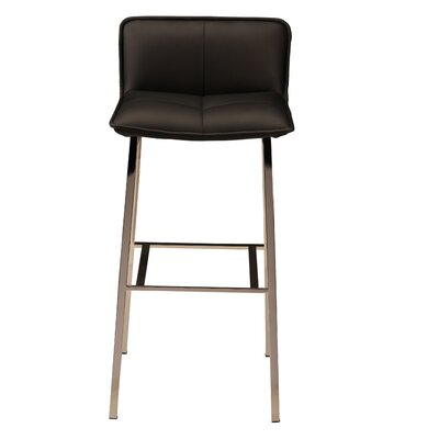 Chappelle 25.5 Bar Stool Color: Polished Silver, Upholstery: Black Naugahyde