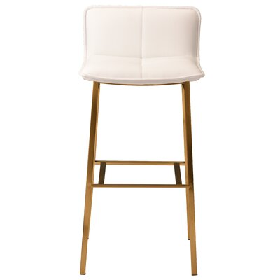 Chappelle 25.5 Bar Stool Color: Brushed Gold, Upholstery: White Naugahyde