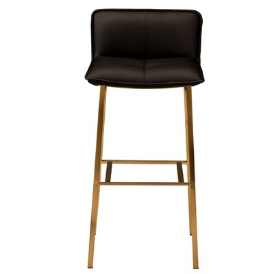 Chappelle 25.5 Bar Stool Color: Brushed Gold, Upholstery: Black Naugahyde