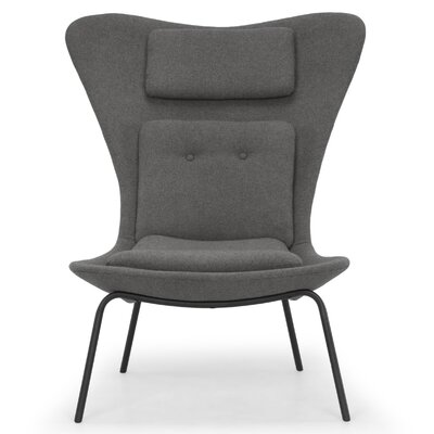 Deron Upholstered Side Chair Finish: Black, Upholstery: Fossil Gray