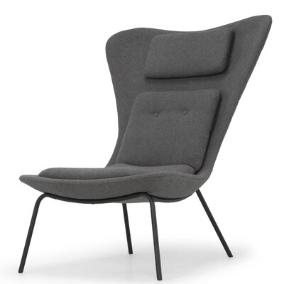Deron Side Chair Upholstery: Fossil Gray, Finish: Black