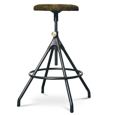 Dhrub Adjustable Height Bar Stool Upholstery: Jin Green