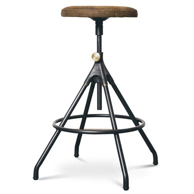 Dhrub Adjustable Height Bar Stool Upholstery: Umber Tan