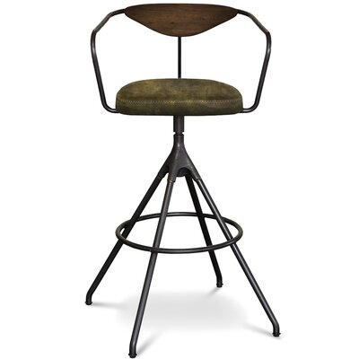 Dhrub Bar Stool Upholstery: Jin Green