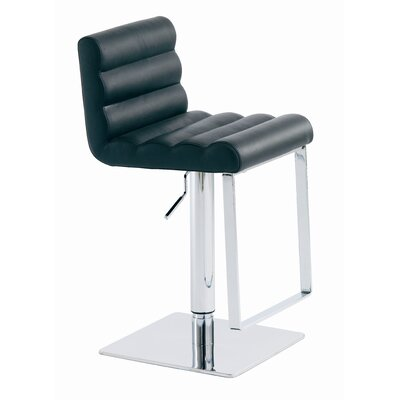 Fanning Adjustable Height Swivel Bar Stool Upholstery: Black