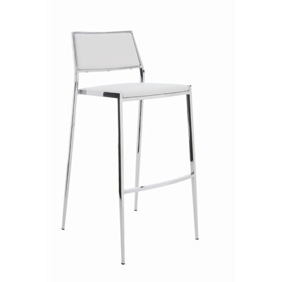 Aaron 24.75 inch Bar Stool Upholstery: White
