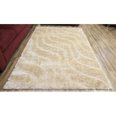 Unique Home Cream Area Rug Rug Size: 53 x 73
