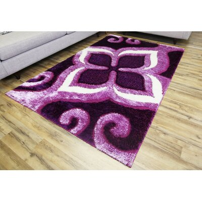 Gloria Purple Area Rug Rug Size: 53 x 73