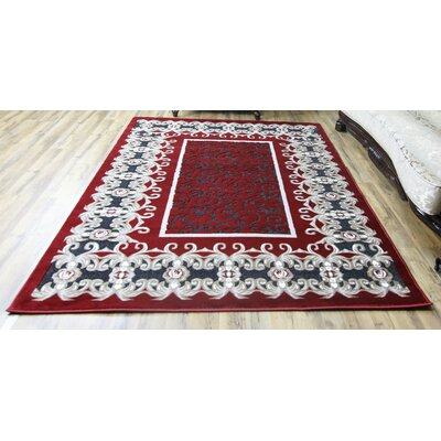 Crystal Red/Gray Area Rug Rug Size: 710 x 102