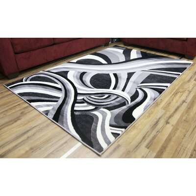 Crystal Dark Gray/Light Gray Area Rug Rug Size: 53 x 73
