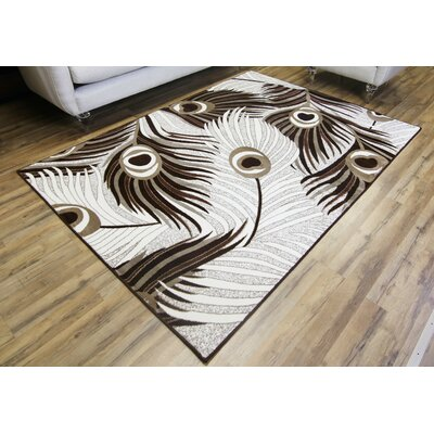 Crystal Cream/Brown Area Rug Rug Size: 53 x 73