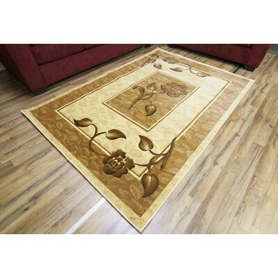 Rosa Cream/Brown Area Rug Rug Size: 53 x 75