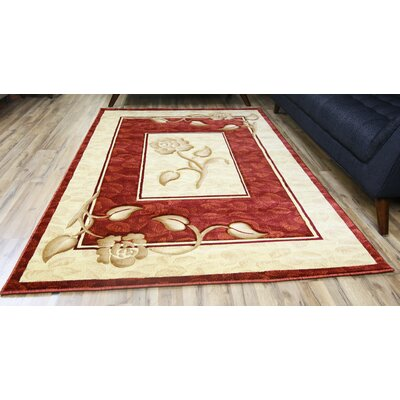 Rosa Red/Cream Area Rug Rug Size: 53 x 75