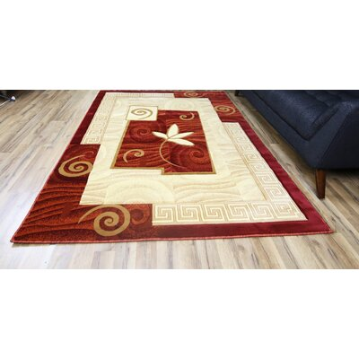 Rosa Red/Cream Area Rug Rug Size: 5'3