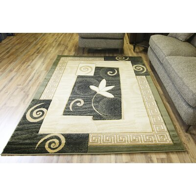 Rosa Green/Beige Area Rug Rug Size: 53 x 75