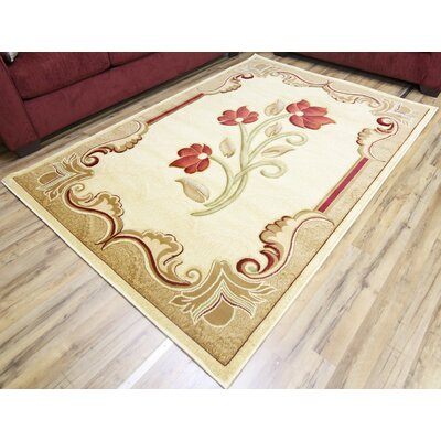 Rosa Cream/Red Area Rug Rug Size: 7'10