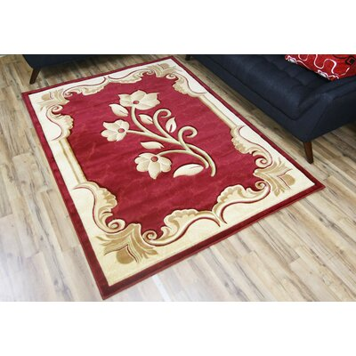 Rosa Red/Cream Area Rug Rug Size: 23 x 75