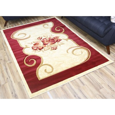 Rosa Red/Cream Area Rug Rug Size: 6'7