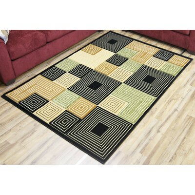 Rosa Black/Green Area Rug Rug Size: 53 x 75