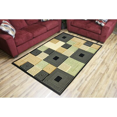 Labella Black Area Rug Rug Size: 53 x 75