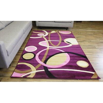 Rosa Purple/Beige Area Rug Rug Size: 53 x 75