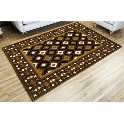 Shonil Dark Brown/Light Brown Area Rug Rug Size: Rectangle 53 x 73