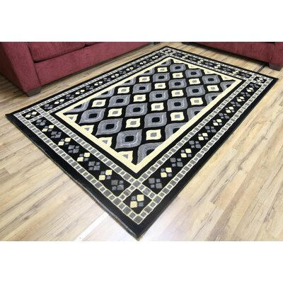 Shonil Black/Gray Area Rug Rug Size: Rectangle 53 x 73