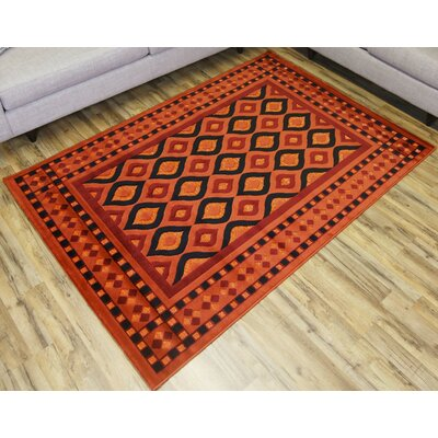 Shonil Orange/Red Area Rug Rug Size: Rectangle 53 x 73
