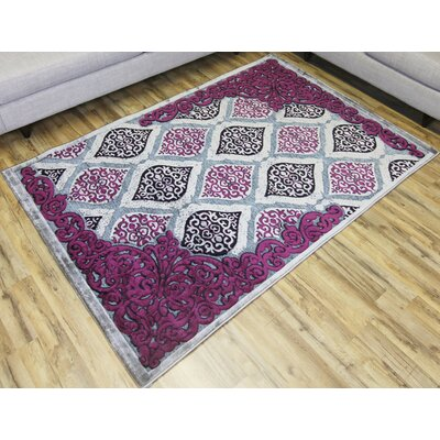 Shonil Gray/Purple Area Rug Rug Size: 5'3