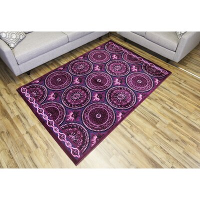 Shonil Purple/Pink Area Rug Rug Size: Rectangle 53 x 73