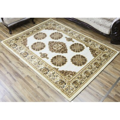 Shonil Cream/Brown Area Rug Rug Size: Rectangle 53 x 73