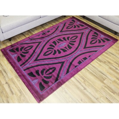 Shonil Purple/Black Area Rug Rug Size: 53 x 73