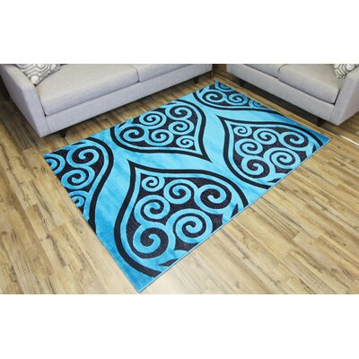 Shonil Blue/Black Area Rug Rug Size: Rectangle 27 x 77