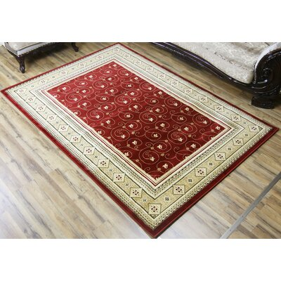 Super Belkis Red/Beige Area Rug Rug Size: 53 x 75