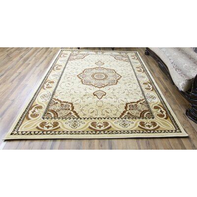 Super Belkis Ivory/Brown Area Rug Rug Size: 53 x 75