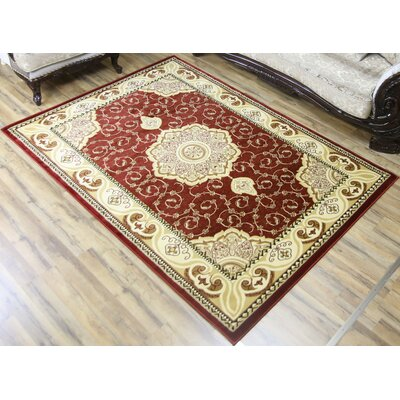 Super Belkis Red/Ivory Area Rug Rug Size: 53 x 75