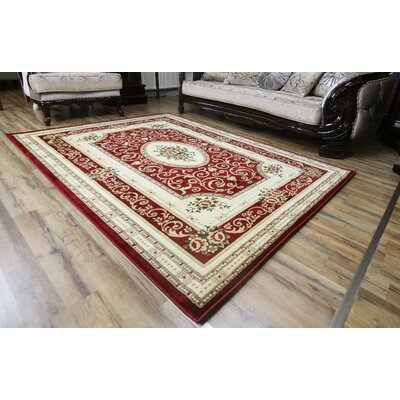 Super Belkis Red/Cream Area Rug Rug Size: 53 x 75